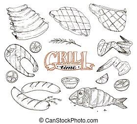 格柵, 會見, 以及, fish