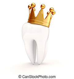 栽培された, 金, 上, 歯, 白, 3d