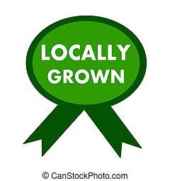 栽培された, locally, 緑の背景, 白いリボン, 言葉遣い