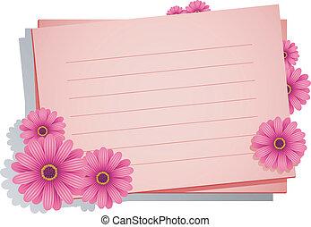 桃紅色花, 由于, a, 卡片, 為, 你, t