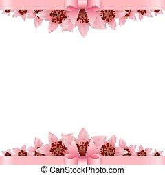 桃紅色 花, 旗幟, 弓, 背景, 白色的百合