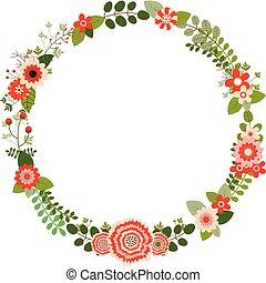 桃紅色 花, 離開, 花冠, 矢量, 綠色, 花, 輪, 紅色