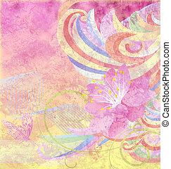 桃紅色 花, grunge, 摘要, 曲線, 紙, 黃色的背景