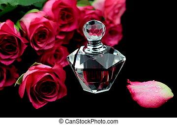 桃红色玫瑰, 同时,, 香水, 玻璃瓶子