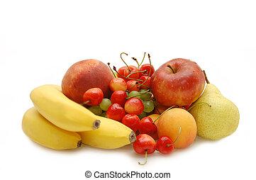桃, さくらんぼ, 甘い, アップル, アプリコット, ブドウ, ナシ, 背景, バナナ, 白