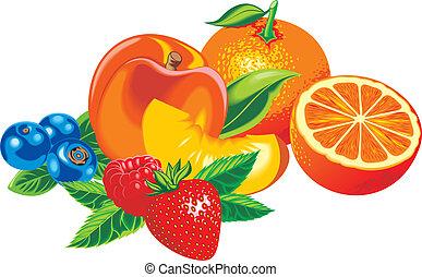 桃, オレンジ, いちご, 他, 成果, ブルーベリー