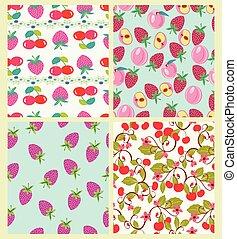 桃, セット, パターン, サクランボ, ベクトル, strawberries.