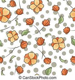 桃, パターン, 抽象的, ポルカ, seamless, 色, ベクトル, 点, 背景, 花, 花, 柔らかい, hand-drawn