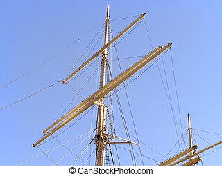 桅, 在中, 老, 船