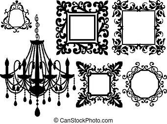 框架, 圖片, 枝形吊燈