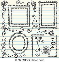 框架, 圖片, sketchy, 集合, 心不在焉地亂寫亂畫