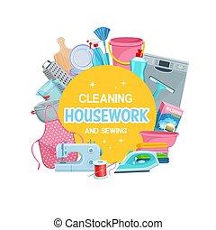 框架, 工具, 打扫, 缝, 家务劳动