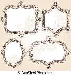 框架, 指甲花, doodles, 矢量, 集合
