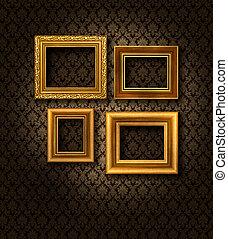 框架, 牆, 金, 緞子