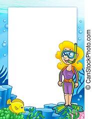 框架, 由于, 水下通气管, 潛水者, 1