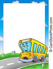 框架, 由于, 黃色的學校公共汽車