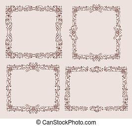 框架, 由于, foliate, 裝飾品, doodles