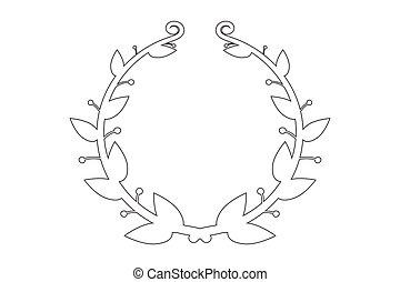 框架, 矢量, 常春藤, 分支, 輪