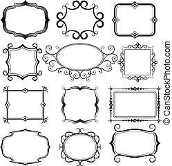 框架, 矢量, 放置, 装饰华丽