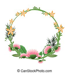 框架, 花冠, 花, 輪, 浪漫