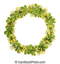 框架, 花冠, 設計, 樣板, 植物, 或者