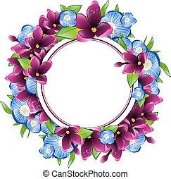 框架, 花, 勿忘草, 輪, 紫丁香