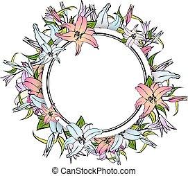框架, 花, 百合花, 輪