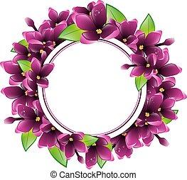 框架, 花, 輪, 紫丁香