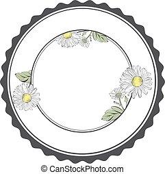 框架, 花, 輪, copyspace, 雛菊