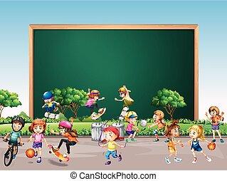 框架, 设计, 带, 许多, 孩子, 玩, 在公园中, 背景