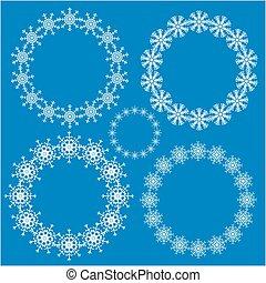 框架, 集合, 雪花, 輪