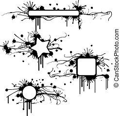 框架, grunge, 沾污