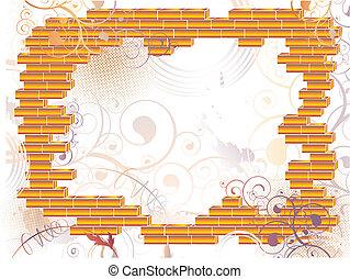 框架, grunge, 磚, 摘要