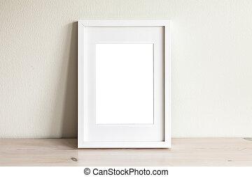 框架, mockup, 垂直, 白色