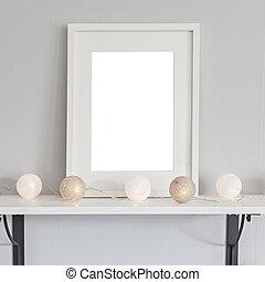 框架, mockup, 長方形, 白色