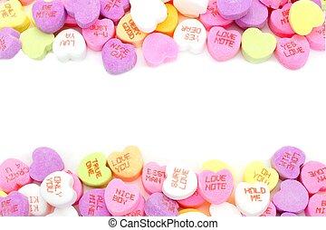 框架, valentines天, 糖果