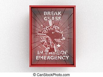 案件, 箱子, 毀坏, 緊急事件, 紅色