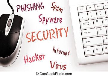 案, セキュリティー, コンピュータ, 単語, キーボード