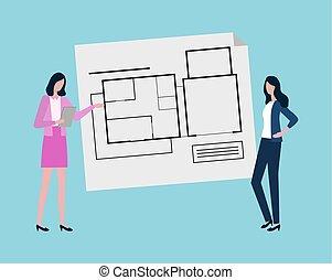 案, 考え, 計画, 新しい, デザイナー, エンジニア