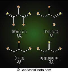 案, gliceric, イラスト, 化学物質, glycerol, ベクトル, 酸, tartonic, 酸, ...