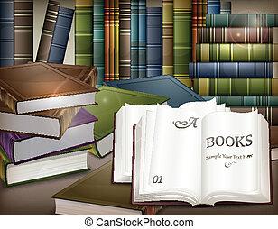 桌子, 书, 堆