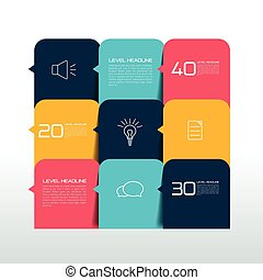 桌子, 圖表, 時間表, 正文, 旗幟, template., infographics, elements.