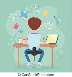 桌子, 察看, 学习, 坐, 计算机教育, 学生, 以联机方式, 男孩, 往回