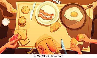 桌子, 早餐, 頂視圖