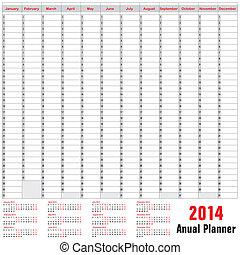 桌子, 時間表, -, anual, 計劃者