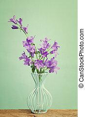 桌子, 木制, 花, companula, 蓝的瓶