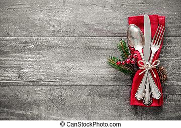 桌子, 确定, 地方, 聖誕節