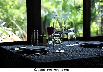 桌子, 集合, 綠色的背景, 自然