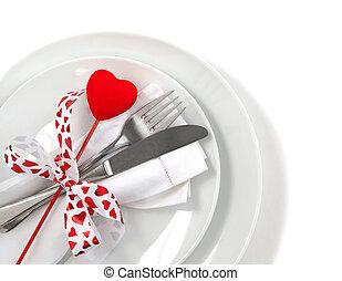 桌子, 餐具, 為, 情人節