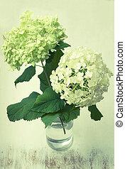 桌子, hydrangea, 木制, 怀特开花, 瓶, 葡萄收获期